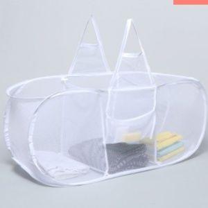 3-Section Mesh Laundry Hamper basket white